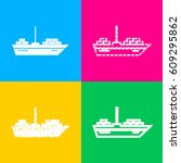 ship sign illustration. four... | Shutterstock .eps vector #609295862
