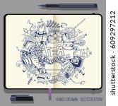hand drawn tea doodle...   Shutterstock .eps vector #609297212