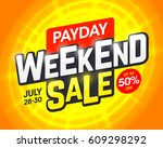 payday weekend sale banner... | Shutterstock .eps vector #609298292