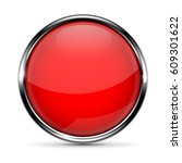 red round glass button with... | Shutterstock .eps vector #609301622