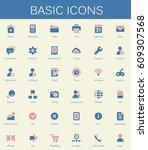 basic web icons. modern vector... | Shutterstock .eps vector #609307568