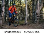 cyclist riding the bike on the... | Shutterstock . vector #609308456