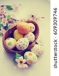 easter holidays background with ...   Shutterstock . vector #609309746