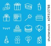 birthday icons set. set of 16... | Shutterstock .eps vector #609315788