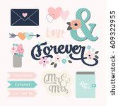 love stickers. signs  symbols ... | Shutterstock .eps vector #609322955