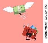 money bill flying out of wallet ...   Shutterstock .eps vector #609324422
