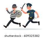 Policeman Chasing A Thief. The...