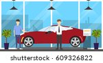 automobile showroom set on... | Shutterstock .eps vector #609326822