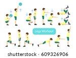 legs workout set on white... | Shutterstock .eps vector #609326906