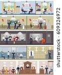police station interior set...   Shutterstock .eps vector #609326972