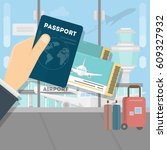 man with passport and boarding... | Shutterstock .eps vector #609327932