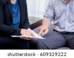 businessman and businesswoman... | Shutterstock . vector #609329222