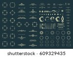 circle and square wicker... | Shutterstock .eps vector #609329435