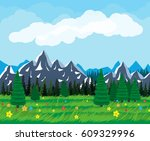 summer nature landscape with... | Shutterstock .eps vector #609329996