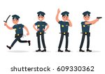 set of policeman in different... | Shutterstock .eps vector #609330362