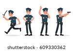 set of policeman in different... | Shutterstock .eps vector #609330362
