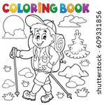 coloring book hiker outdoor  ... | Shutterstock .eps vector #609331856