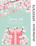 vertical template with pink...   Shutterstock .eps vector #609337676