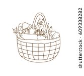 a set of vegetables in a basket ... | Shutterstock .eps vector #609338282