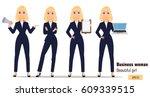 young cartoon businesswoman set.... | Shutterstock .eps vector #609339515