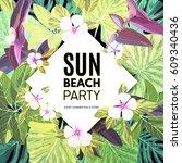 bright vector floral banner... | Shutterstock .eps vector #609340436