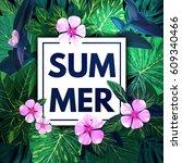 summer hawaiian background with ... | Shutterstock .eps vector #609340466