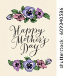 happy mothers day card with... | Shutterstock .eps vector #609340586