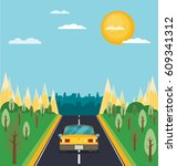 picture of car on the road with ... | Shutterstock .eps vector #609341312