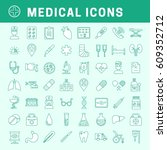 a set of simple outline medical ... | Shutterstock .eps vector #609352712