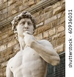 Copy Michelangelo's sculpture of David in Florence, Italy - stock photo