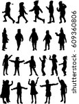 vector silhouette of children... | Shutterstock .eps vector #609360806