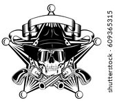 vector illustration cowboy... | Shutterstock .eps vector #609365315