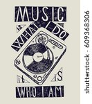 turntable music quote poster  ... | Shutterstock .eps vector #609368306