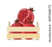 wooden box full of pomegranate... | Shutterstock .eps vector #609368672