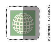 color sticker square with globe ... | Shutterstock .eps vector #609368762