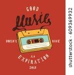 vintage cassette music poster... | Shutterstock .eps vector #609369932