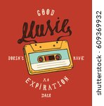 Vintage Cassette Music Poster...