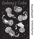 set of cats astronauts in space.... | Shutterstock .eps vector #609369956