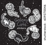 sticker set of cats astronauts... | Shutterstock .eps vector #609370046