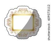 sticker golden square vintage... | Shutterstock .eps vector #609373112