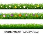 grass border with flower  | Shutterstock . vector #609393962