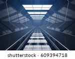 dark futuristic tunnel interior.... | Shutterstock . vector #609394718