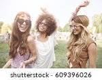 playful young girls at summer... | Shutterstock . vector #609396026