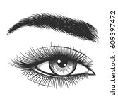 beautiful lady eye hand drawn... | Shutterstock .eps vector #609397472