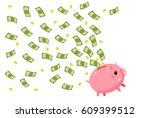 concept of save money. happy... | Shutterstock .eps vector #609399512