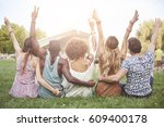 young people cheering and... | Shutterstock . vector #609400178