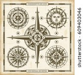 vintage compass roses set.... | Shutterstock .eps vector #609403046