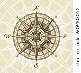 vintage nautical compass rose.... | Shutterstock .eps vector #609403052