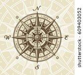 vintage nautical compass rose.... | Shutterstock .eps vector #609403052