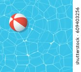 red beach ball in swimming pool | Shutterstock .eps vector #609403256